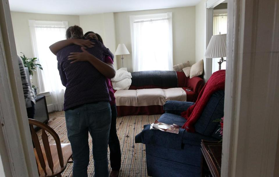 Rosalind Abercrombie daughter, Jan, hugged social worker Sarah Porell after Rosalind died in her Randolph home.